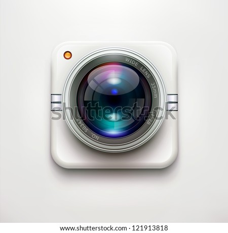 Vector illustration of a single detailed security camera icon isolated on soft background