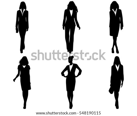 Vector illustration of a six businesswomen posing