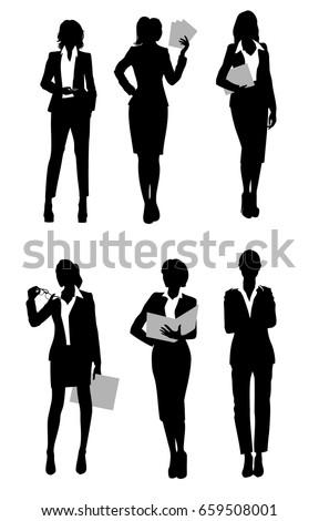 Vector illustration of a six businesswomen silhouette