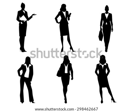 Vector illustration of a six businesswomen silhouettes
