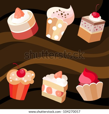 Vector illustration  of a six cakes set