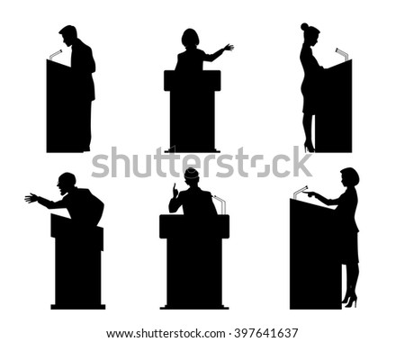 Vector illustration of a six lecturers silhouettes