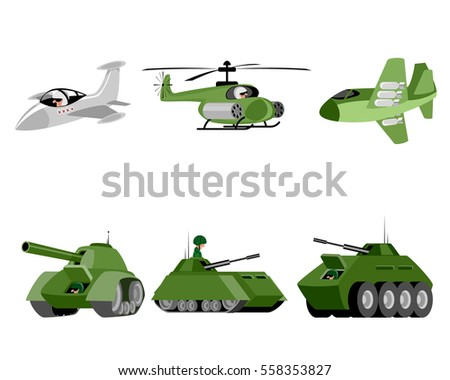 Vector illustration of a six military vehicles