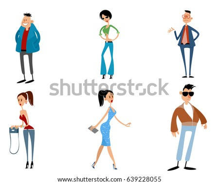 Vector illustration of a six modern teenagers
