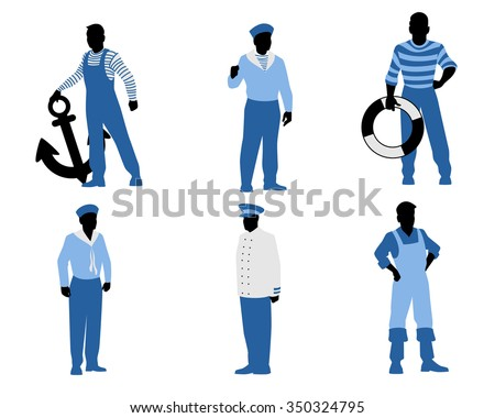Vector illustration of a six sailors silhouettes