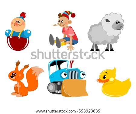 Vector illustration of a six toys set