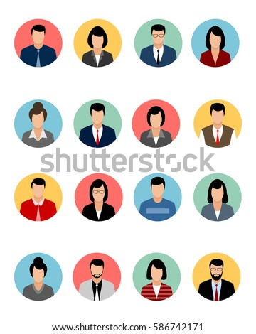 Vector illustration of a sixteen avatars set