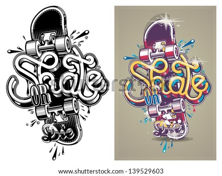 Vector Illustration Of A Skate Board With Graffiti,Background