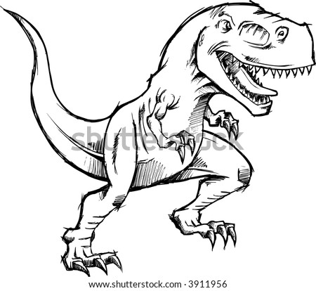 Vector Illustration Of A Sketchy T Rex Dinosaur