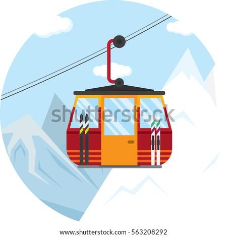 vector illustration of a ski