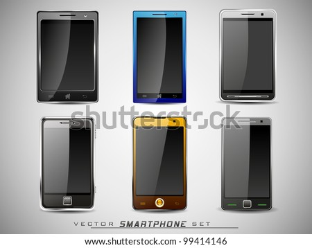 Vector illustration of a smart phone sets mobile handsets in black, blue, white and yellow colors with large  touch screen.