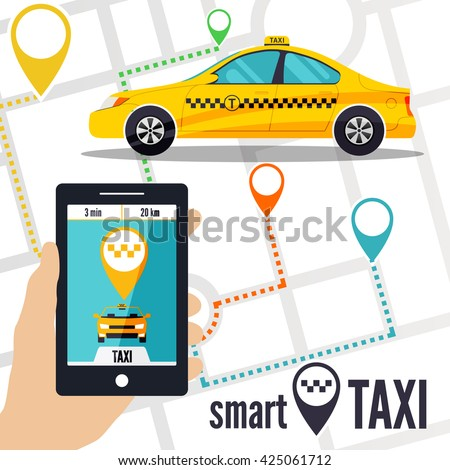Vector illustration of a smart taxi concept. Smartphone with taxi service application on a screen,  yellow cab, street map and location pointer on a background. Taxi ordering interface.