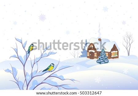 Vector illustration of a snowing winter landscape with a country house and small birds on a bush, isolated on a white background