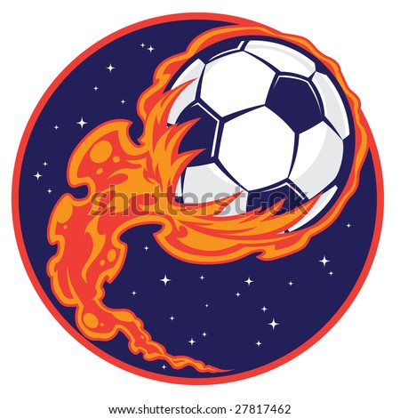 Vector illustration of a soccer ball drawn as a comet shooting through space. - Shutterstock ID 27817462