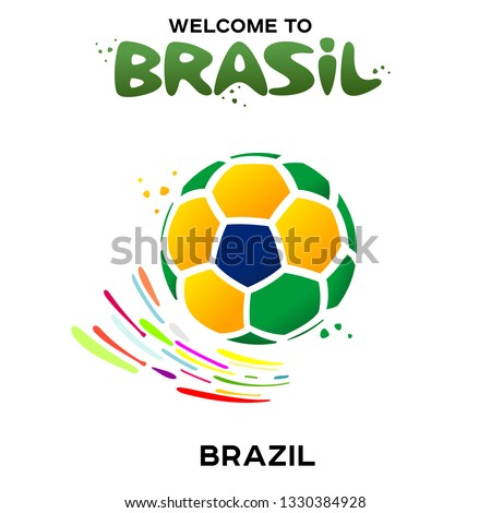 Vector illustration of a soccer ball in the colors of the national flag on the white background. CONMEBOL Copa America 2019 soccer championship tournament in Brasil. Broadcast template.