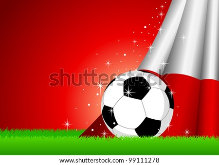 Vector illustration of a soccer ball with Poland insignia