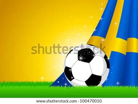 Vector illustration of a soccer ball with Sweden insignia