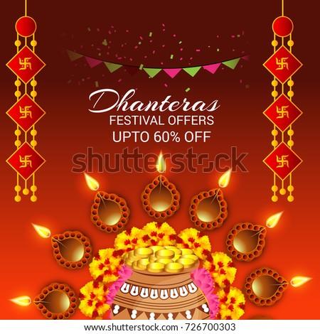 Vector illustration of a social media header background for happy vector illustration of a social media header background for happy dhanteras festival m4hsunfo