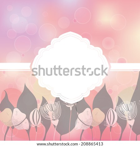 Vector illustration of a soft background with bokeh lights. eps 10, in tender pink colors