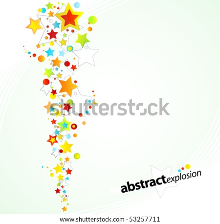 Vector illustration of a starry rainbow explosion design background.