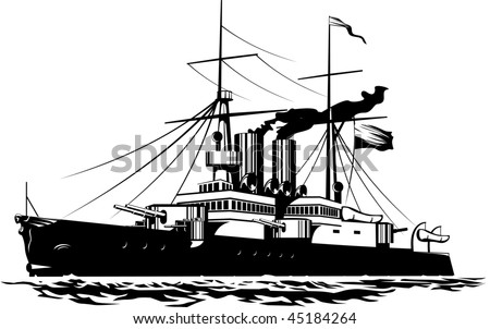 Vector illustration of a steam Battleship black and white