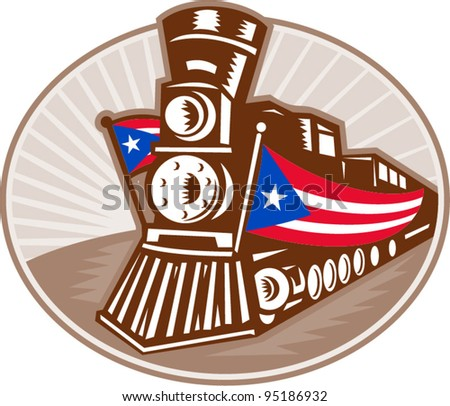 vector Illustration of a steam train locomotive with American stars and stripes flag dome in retro woodcut style.