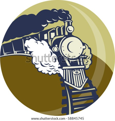 vector illustration of a Steam train or locomotive coming up set inside a circle