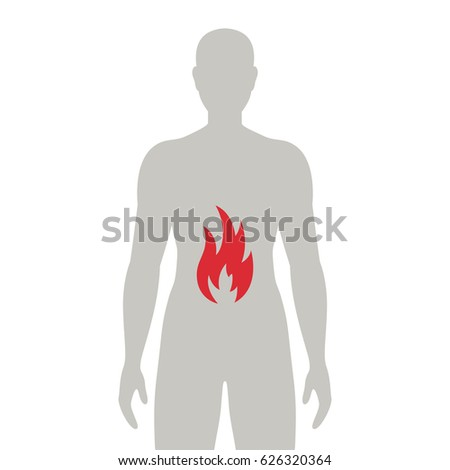 Vector Illustration of a Stomach with Fire. Heartburn Icon.