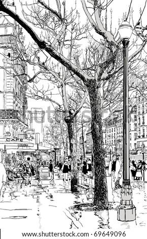 Vector illustration of a street in Paris under the rain