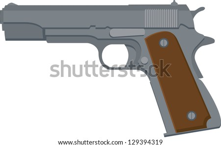 Vector Illustration of a 1911-style automatic pistol