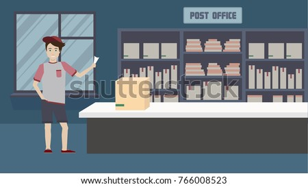 Vector illustration of a styled flat design young man waiting for a parcel in a post office.