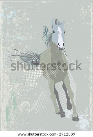 Vector Illustration of a  stylized running horse. Grunge background  .  Vector illustration.