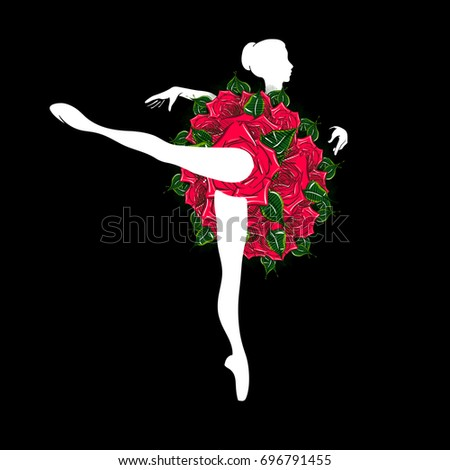 Vector Illustration of a Stylized Young Ballerina with a Tutu Skirt of Red Roses. Freehand Drawing of a Ballet Dancer Woman. Ornamental Silhouette Drawing of a Dancing Girl. Art Nouveau Style.
