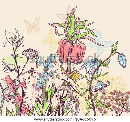 vector illustration of a summer  field with blooming flowers and plants