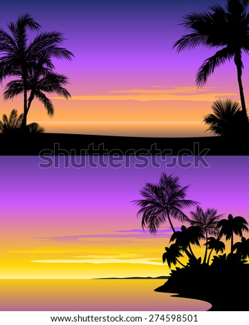 vector illustration of a sunset