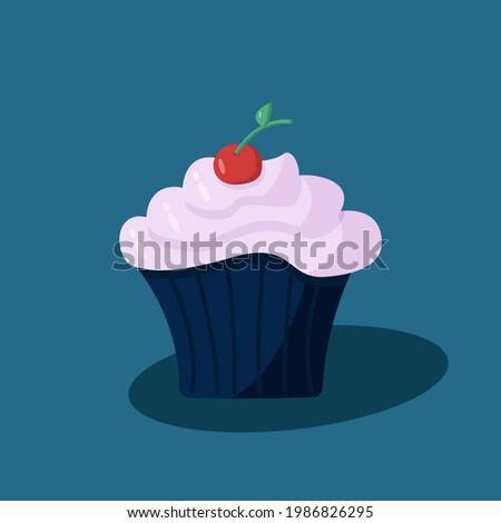 Vector illustration of a sweet dessert cupcake with berry cream and cherries. Photo stock ©