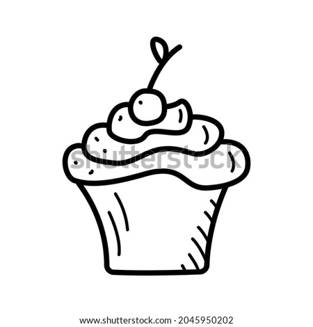 Vector illustration of a sweet dessert cupcake with milk cream and cherries. Photo stock ©