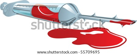 Vector illustration of a syringe with blood and spikes