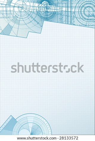 Vector illustration of a technical background with square paper element.