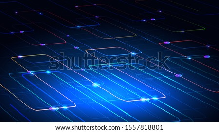 Vector illustration of a techno technology design of luminous lines on a dark blue background. The modern concept of digital technology. EPS 10.