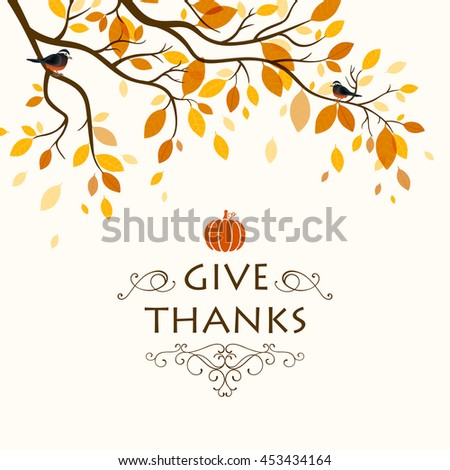 Vector Illustration of a Thanksgiving Background Design with an Autumnal Branch and Birds