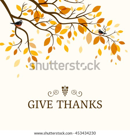 Stock Photo Vector Illustration of a Thanksgiving Background Design with an Autumnal Branch and Birds