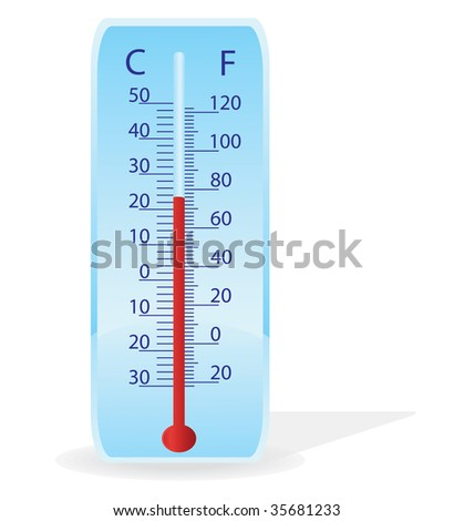 Vector illustration of a thermometer on a white background