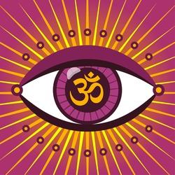 Vector illustration of a third eye mystical sign. The eye of Shiva symbol design