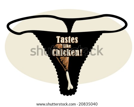 vector illustration of a  thong with a graphic of a chicken leg and some text