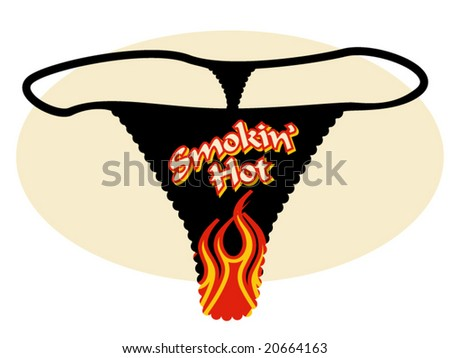 vector illustration of a thong with a graphic of flames and some text
