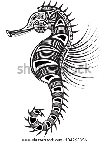 Vector illustration of a totem sea animal - Sea Horse - graphic style
