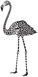 Vector illustration of a totem tattoo animal - flamingo - in graphic style