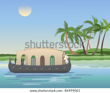 vector illustration of a traditional rice  boat converted to a house boat cruising on the backwaters of kerala in south india in eps 10 format