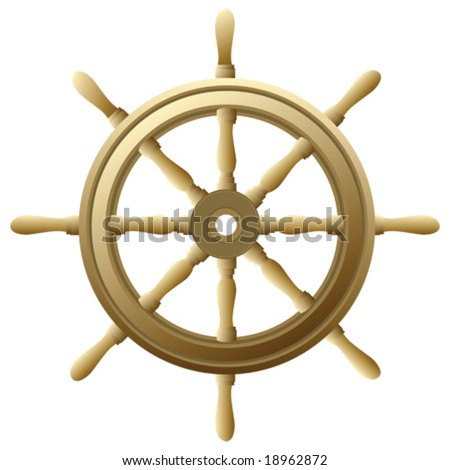 Vector illustration of a traditional ship's wooden wheel